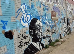 Kansas City Jazz mural near the famous Arthur Bryant's barbecue restaurant on Brooklyn Avenue; photo stolen from quirkytravelguy's Flickr