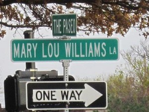 The intersection of Mary Lou Williams Lane, which connects 9th and 10th Streets, at the Paseo; photo stolen from somebody's Pinterest